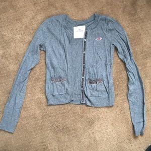 Gray ruffle pocket cardigan